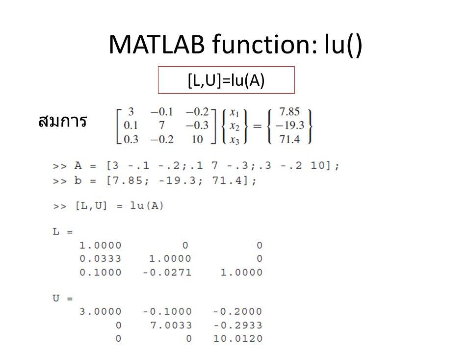 MATLAB function: lu() [L,U]=lu(A) สมการ